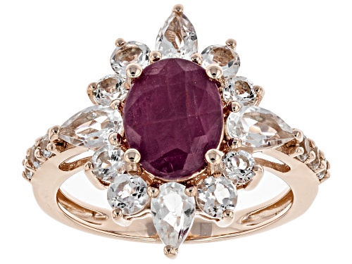 Photo of 2.12ct Oval Indian Ruby With 1.80ctw Pear Shape & Round White Topaz 18k Rose Gold Over Silver Ring - Size 9