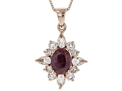 Photo of 2.12ct Indian Ruby, 1.55ctw Pear Shape & Round White Topaz 18k Rose Gold Over Silver Pendant W/Chain