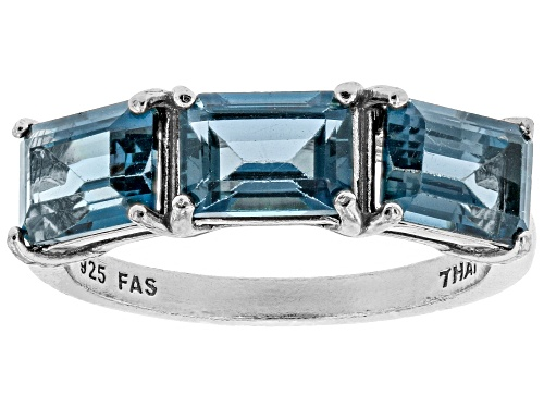 Photo of 3.09ctw Emerald Cut London Blue Topaz Rhodium Over Sterling Silver 3-Stone Ring - Size 8