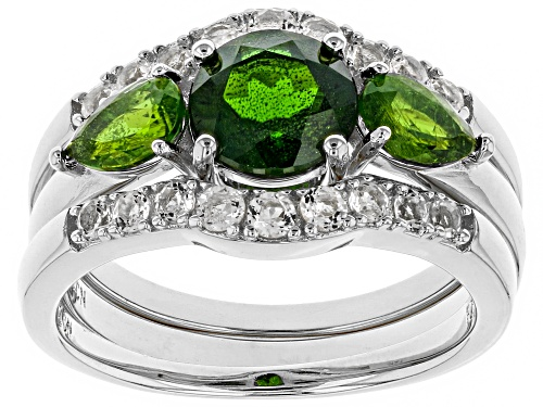 Photo of 1.95ctw Chrome Diopside & .60ctw White Topaz Rhodium Over Silver Ring and 2 Ring Wraps 3-Piece Set - Size 7