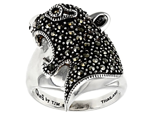 Photo of 1.30mm Round Marcasite and .01ct Round Brazilian Citrine Sterling Silver Panther Head Ring - Size 7