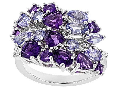 Photo of 1.87ctw Amethyst, 1.40ctw Tanzanite, & .03ctw Diamond Accent Rhodium Over Silver Ring - Size 7