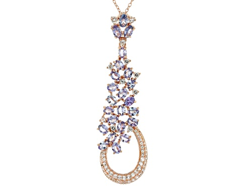 Photo of 4.06ctw Oval Tanzanite & .93ctw Round White Topaz 18k Rose Gold Over Silver Pendant With Chain