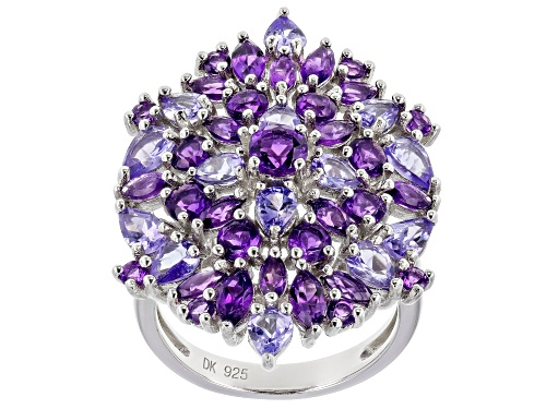 Photo of 2.49ctw Marquise & Round Amethyst With 2.14ctw Pear Shape Tanzanite Rhodium Over Silver Cluster Ring - Size 6