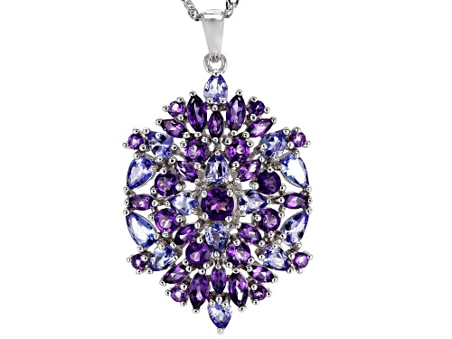 Photo of 2.52ctw Mixed Shape African Amethyst & 2.14ctw Tanzanite Rhodium Over Silver Pendant W/Chain