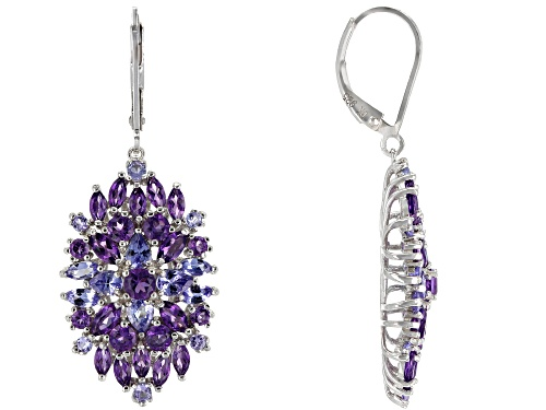 Photo of 3.51ctw Mixed Shape African Amethyst & 1.94ctw Tanzanite Rhodium Over Silver Dangle Earrings