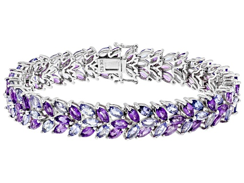 Photo of 8.34ctw Marquise African Amethyst & 7.51ctw Marquise Tanzanite Rhodium Over Silver Bracelet - Size 8