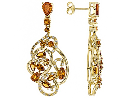 Photo of 7.06ctw Mixed Shape Mandarin Garnet W/ .68ctw Zircon 18k Gold Over Silver Chandelier Earrings