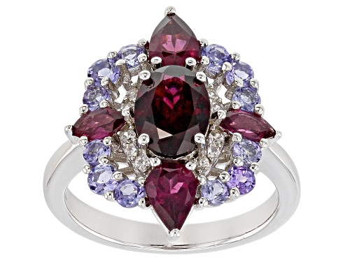Photo of 2.69ctw Raspberry Color Rhodolite, .68ctw Tanzanite & .17ctw White Zircon Rhodium Over Silver Ring - Size 12