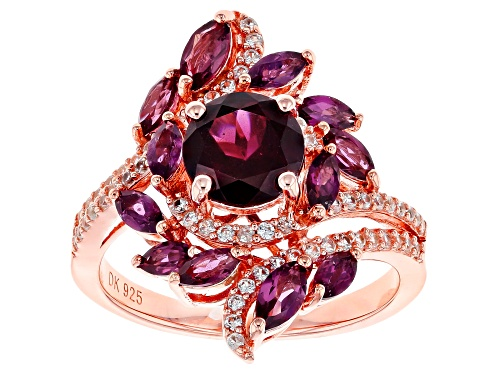 Photo of 2.56ctw Raspberry Color Rhodolite & .41ctw White Zircon 18k Rose Gold Over Silver Ring - Size 9