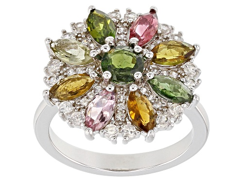 Photo of 1.93ctw Marquise & Round Multi-Tourmaline & .78ctw White Zircon Rhodium Over Silver Ring - Size 8