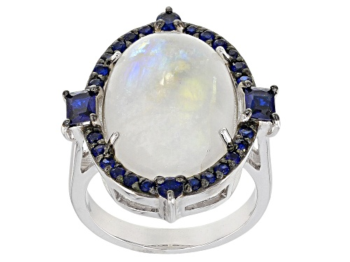 Photo of 18X13MM OVAL RAINBOW MOONSTONE & .75CTW LAB CREATED BLUE SPINEL RHODIUM OVER SILVER RING - Size 7
