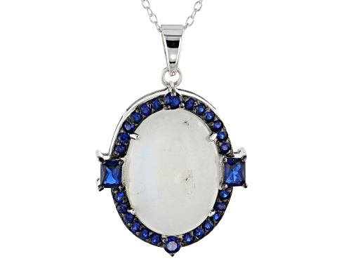 Photo of 18x13mm oval rainbow moonstone & .75ctw lab created blue spinel rhodium over silver pendant w/chain