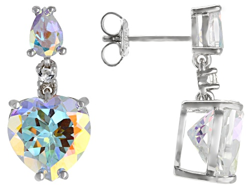 Photo of 8.03ctw Heart & Pear Shape Mercury Mist® Topaz with White Topaz Rhodium Over Silver Earrings