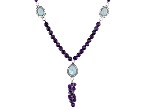 Photo of 6mm & 8mm Round Amethyst Bead With Pear Shape & Oval Aquamarine Cabochon Silver Tassel Necklace - Size 20
