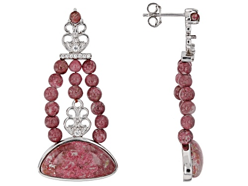 Photo of Mixed Shape Thulite With .25ctw Round White Zircon Rhodium Over Sterling Silver Earrings