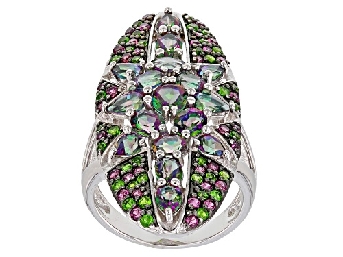 Photo of 4.16CTW MYSTIC FIRE® GREEN TOPAZ, RHODOLITE AND CHROME DIOPSIDE RHODIUM OVER SILVER RING - Size 8