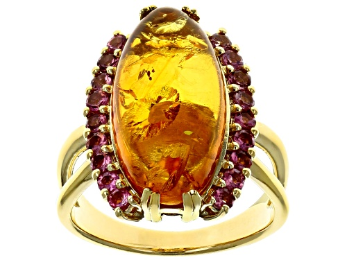 Photo of 20x10mm oval amber cabochon with .61ctw pink tourmaline 18k yellow gold over sterling silver ring - Size 8