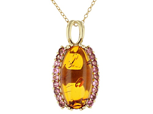 Photo of 20x10mm amber with .61ctw pink tourmaline 18k gold over sterling silver pendant with chain