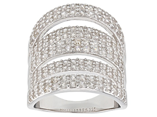 Photo of 3.67ctw Round White Zircon Rhodium Over Sterling Silver 5-Row Band Ring - Size 5