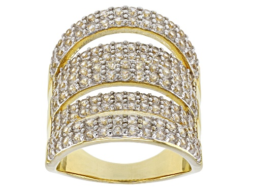 Photo of 3.67ctw Round White Zircon 18k Yellow Gold Over Silver 5-Row Band Ring - Size 8