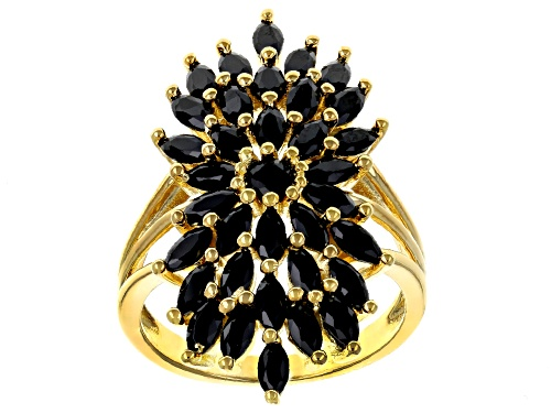 Photo of 2.13ctw Marquise and Round Black Spinel, 18k Yellow Gold Over Sterling Silver Cluster Ring - Size 6