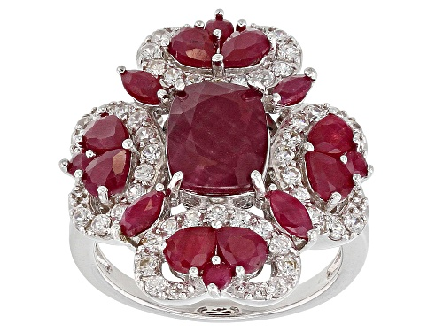 Photo of 4.31CTW INDIAN RUBY WITH .78CTW WHITE ZIRCON RHODIUM OVER STERLING SILVER RING - Size 6