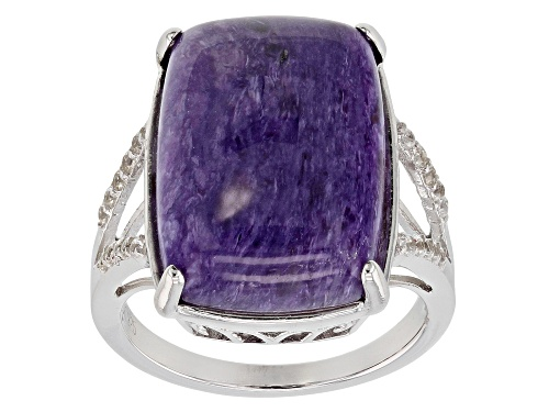 Photo of 18x13mm Rectangular Cushion Charoite & .23ctw Round White Zircon Rhodium Over Silver Ring - Size 7
