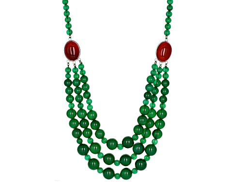 6-12mm Round Green Agate Bead & Red Chalcedony Sterling Silver Necklace - Size 22