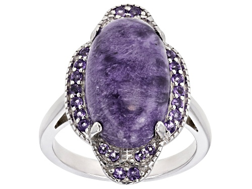 Photo of 16x10mm Oval Charoite & .27ctw Round African Amethyst Rhodium Over Silver Ring - Size 9