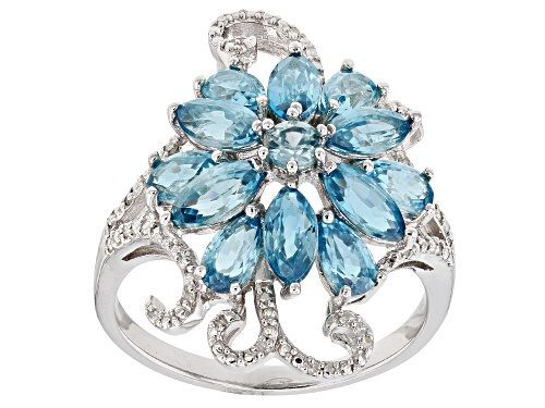 Photo of 3.20ctw blue zircon with .03ctw white diamond accent rhodium over sterling silver ring - Size 7