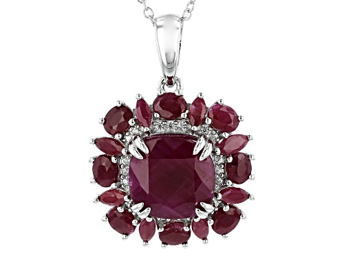 Photo of 7.89ctw Mixed Shape Indian Ruby With 1.36ctw Round White Zircon Rhodium Over Silver Pendant W/Chain