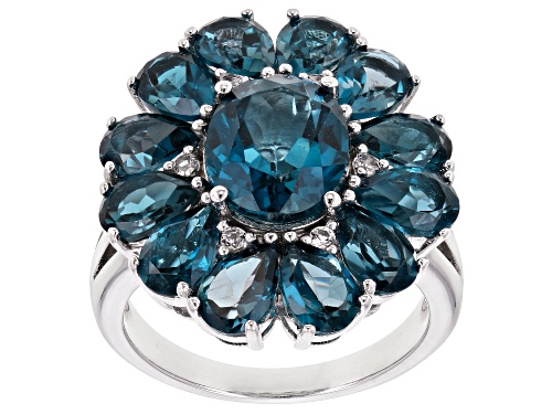Photo of 7.90ctw Oval & Pear Shape London Blue Topaz & .09ctw White Topaz Rhodium Over Silver Ring - Size 8