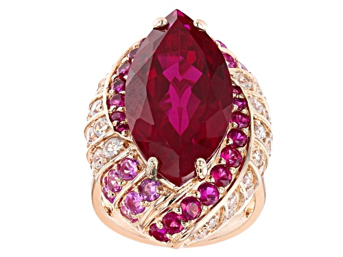 Photo of 16.98ctw Lab Created Ruby, Lab Created Pink Sapphire & White Zircon 18k Rose Gold Over Silver Ring - Size 6