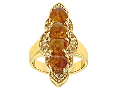 Photo of 6x6mm Heart Shape Amber With .24ctw Round Citrine 18k Yellow Gold Over Sterling Silver Ring - Size 7
