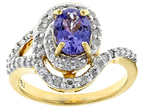 Photo of 1.06ctw Oval Tanzanite With .42ctw Round White Diamonds, 18k Yellow Gold Over Silver Ring - Size 7