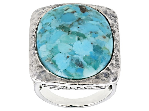 Photo of 25.5x17.5MM OVAL CABOCHON TURQUOISE SOLITAIRE RHODIUM OVER STERLING SILVER RING - Size 7