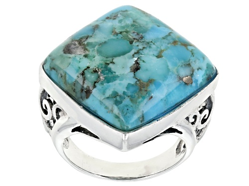 Photo of 20X20MM SQUARE CABOCHON TURQUOISE SOLITAIRE RHODIUM OVER STERLING SILVER RING - Size 7