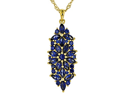 Photo of 3.34ctw Marquise & Round Lab Created Blue Sapphire 18k Yellow Gold Over Silver Pendant W/Chain