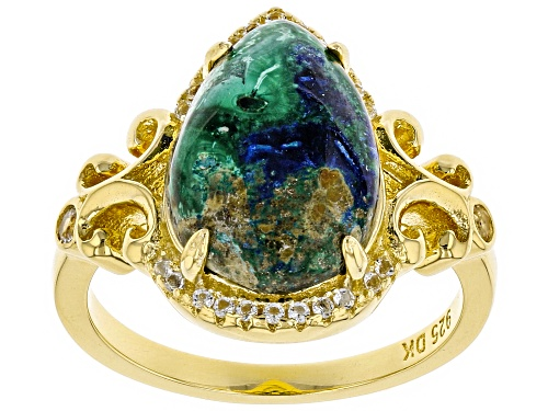 Photo of 14x10mm Pear Shape Azurmalachite & .16ctw White Topaz 18k Yellow Gold Over Sterling Silver Ring - Size 7