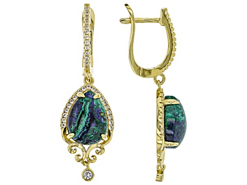 Photo of 12x9mm Pear Shape Azurmalachite & .34ctw White Topaz 18k Yellow Gold Over Silver Dangle Earrings