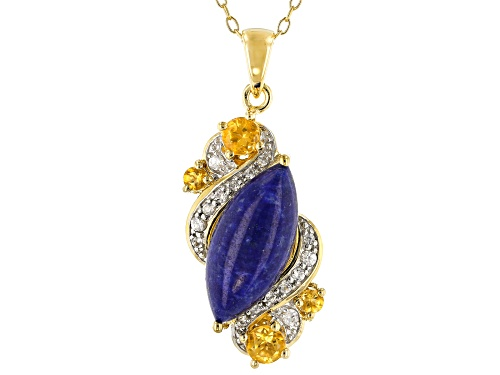 Photo of 16x8mm Marquise Lapis, .36ctw Citrine & .15ctw White Zircon 18k Gold Over Silver Pendant W/Chain