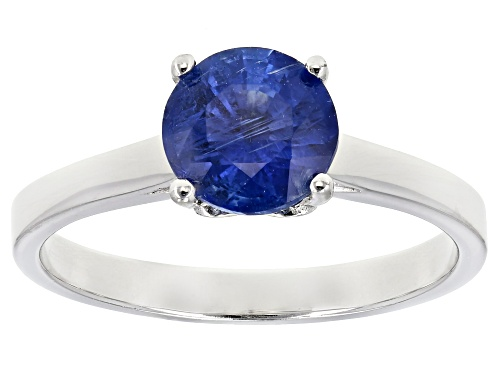 Photo of 1.36ct round kyanite rhodium over sterling silver solitaire ring - Size 6
