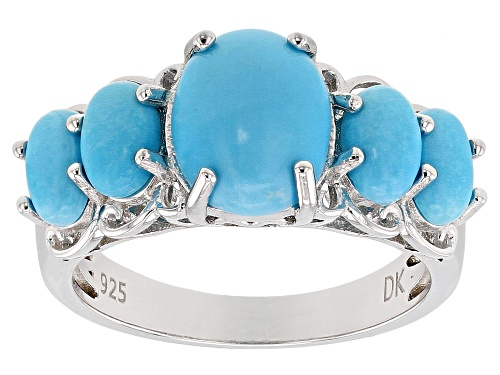 Photo of 10x8mm & 6x4mm Oval Sleeping Beauty Turquoise Rhodium Over Sterling Silver 5-Stone Ring - Size 6