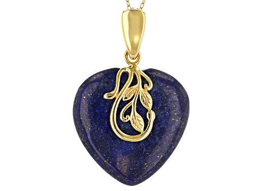 30X30mm heart shape cabochon lapis lazuli 18k yellow gold over sterling silver enhancer with chain