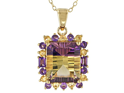 Photo of 4.95ctw Quantum Cut(R) Lab Created Ametrine, Amethyst & Citrine 18k Gold Over Silver Pendant W/Chain