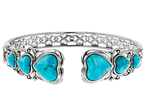 Photo of GRADUATED 6MM, 8MM & 12MM HEART SHAPE CABOCHON TURQUOISE RHODIUM OVER SILVER BANGLE BRACELET - Size 7.25