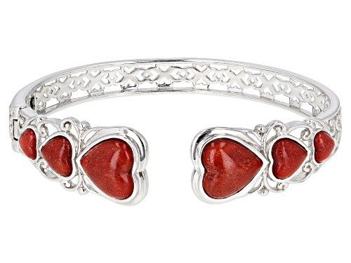 Photo of HEART SHAPE CABOCHON RED CORAL RHODIUM OVER STERLING SILVER CUFF BRACELET - Size 8