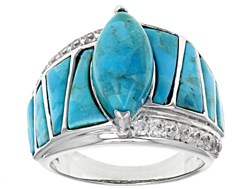Photo of 14x7MM MARQUISE & MIXED SHAPE CABOCHON TURQUOISE WITH .45CTW WHITE ZIRCON RHODIUM OVER SILVER RING - Size 5