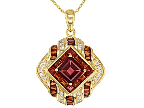 Photo of 4.64CTW VERMELHO GARNET(TM) & .49CTW WHITE ZIRCON 18K YELLOW GOLD OVER SILVER PENDANT WITH CHAIN